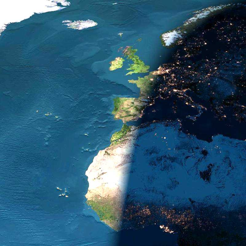 Satelite Image Of Sunset Over Europe 		And North Africa